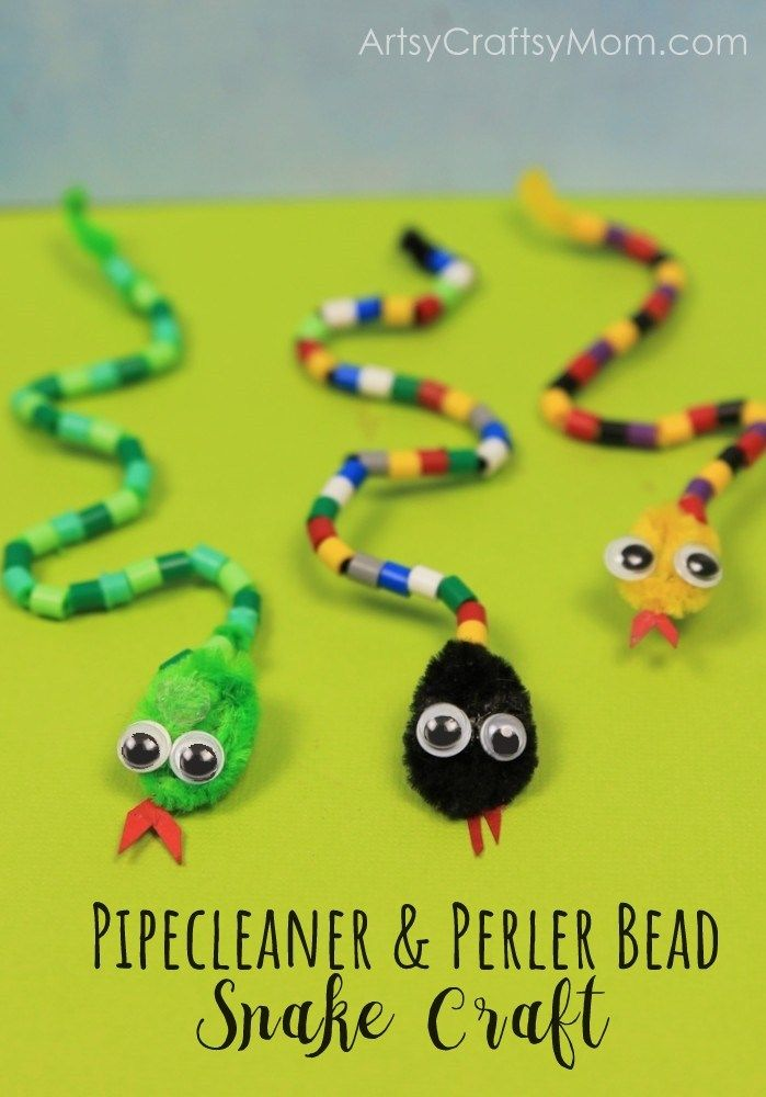 DIY Pipe Cleaner and Bead Snake Craft #animalcrafts