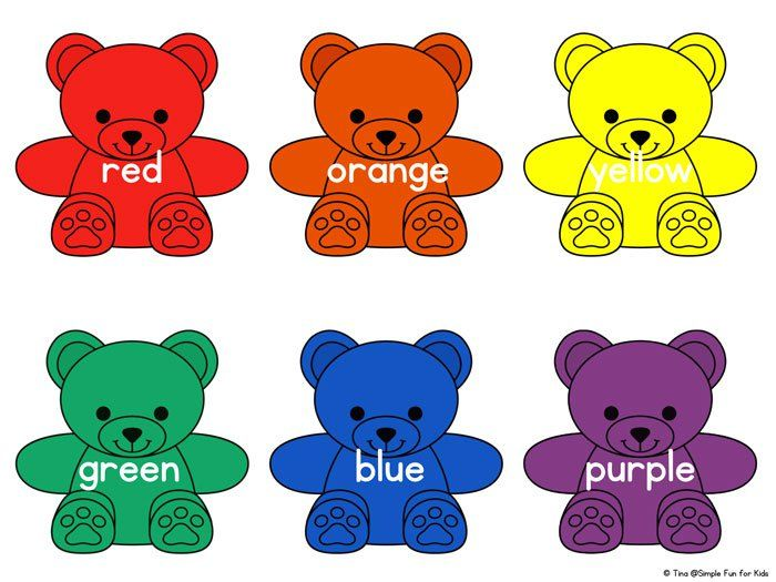 Matching Bears coloring sheet Color the larger bear so it matches – Learning Colors Worksheets