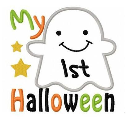 My first Halloween ghost applique machine embroidery design. $4.00 ...