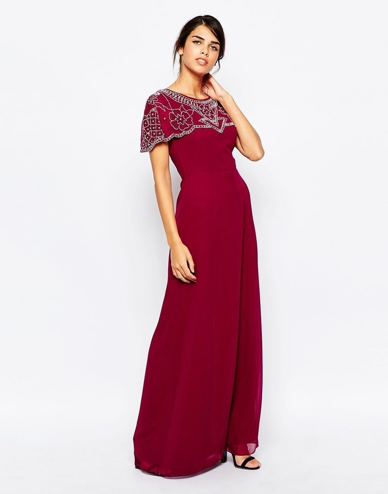 17f7d87aaf Frock and Frill Maxi Evening Dress with Embellished Cape Detail UK 12 EU  40 US 8