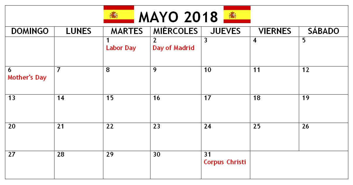 May 2018 Spain Calendar With Holidays 2018 Calendars Pinterest