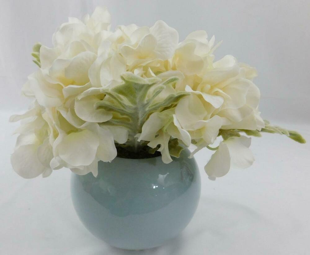 Michaels Floral Plant New White Flowers Floral Blue Bowl Vase