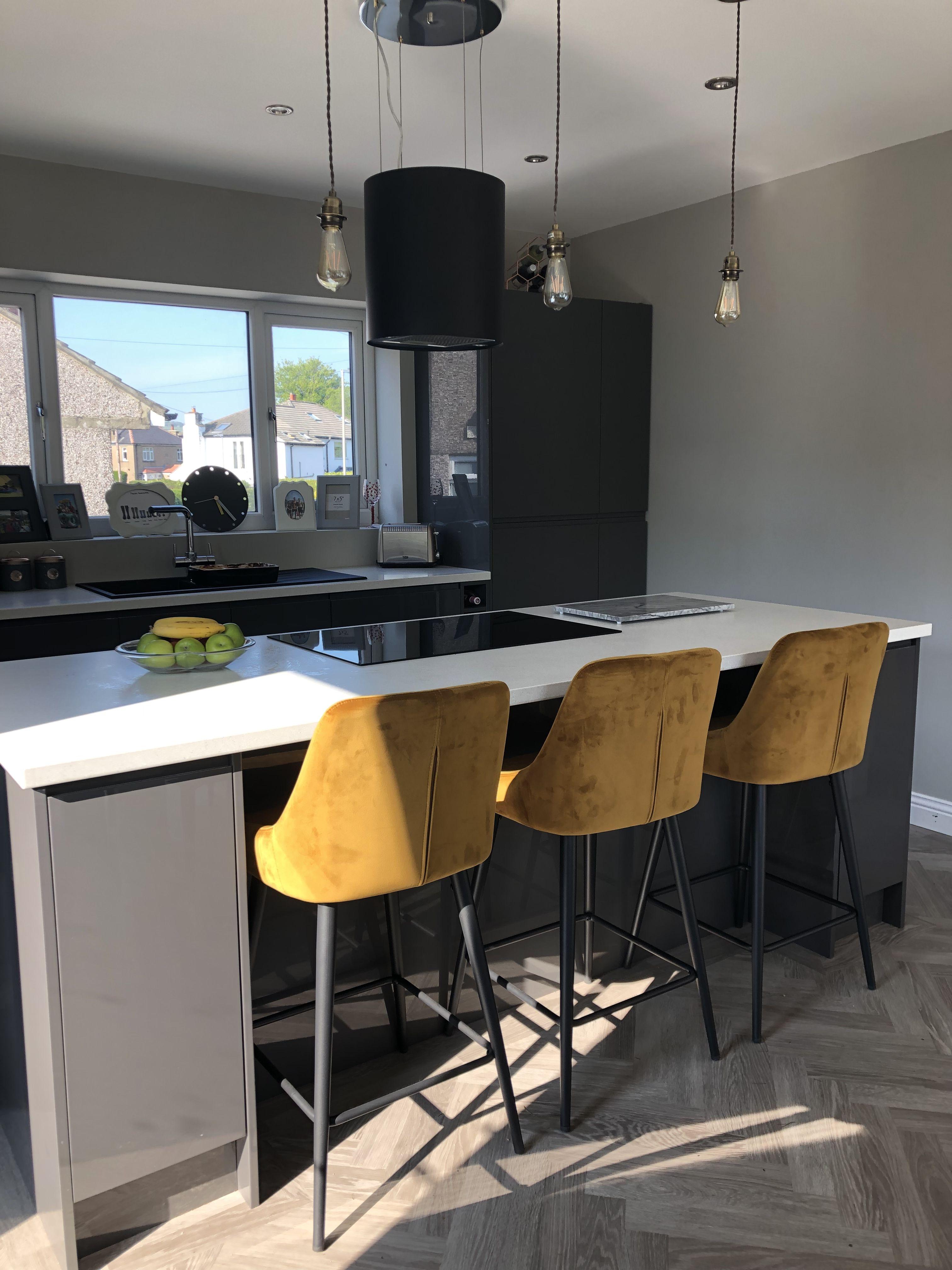 Dark grey gloss kitchen. Mustard barstools   Kitchen bar table ...
