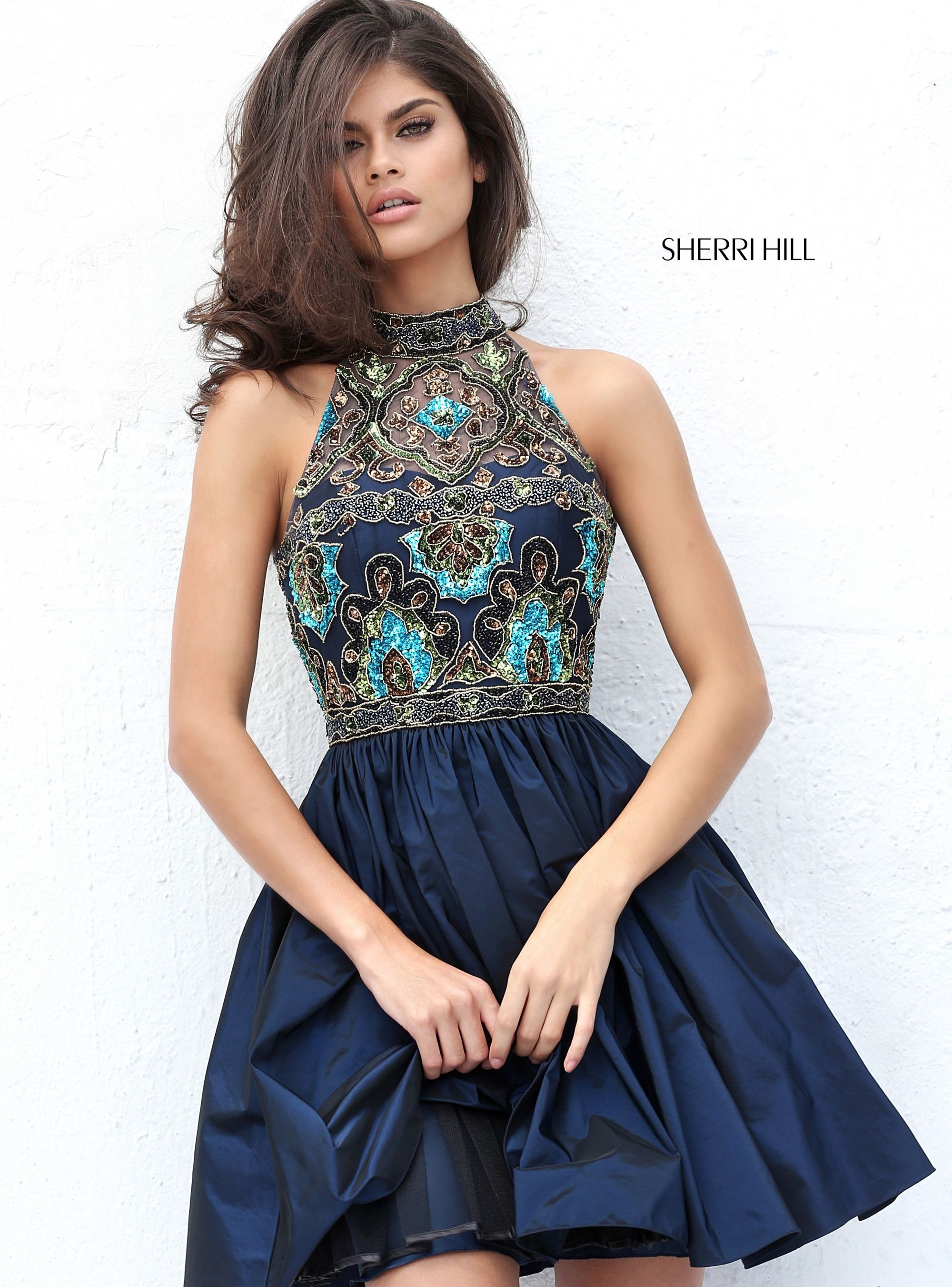 94ca8f05915 Sherri Hill 50706 Navy Multi Short Beaded Ypsilon Dresses Homecoming  Sweethearts Cocktail Pageant Prom Formal Formalwear
