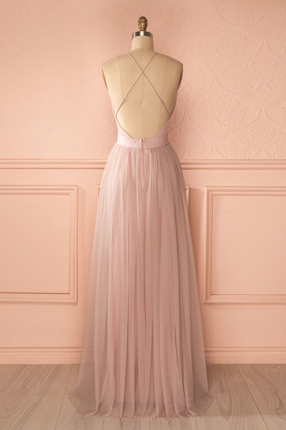 401ae31e65 Elif Douceur - Pink mesh maxi dress with open back Alta Costura