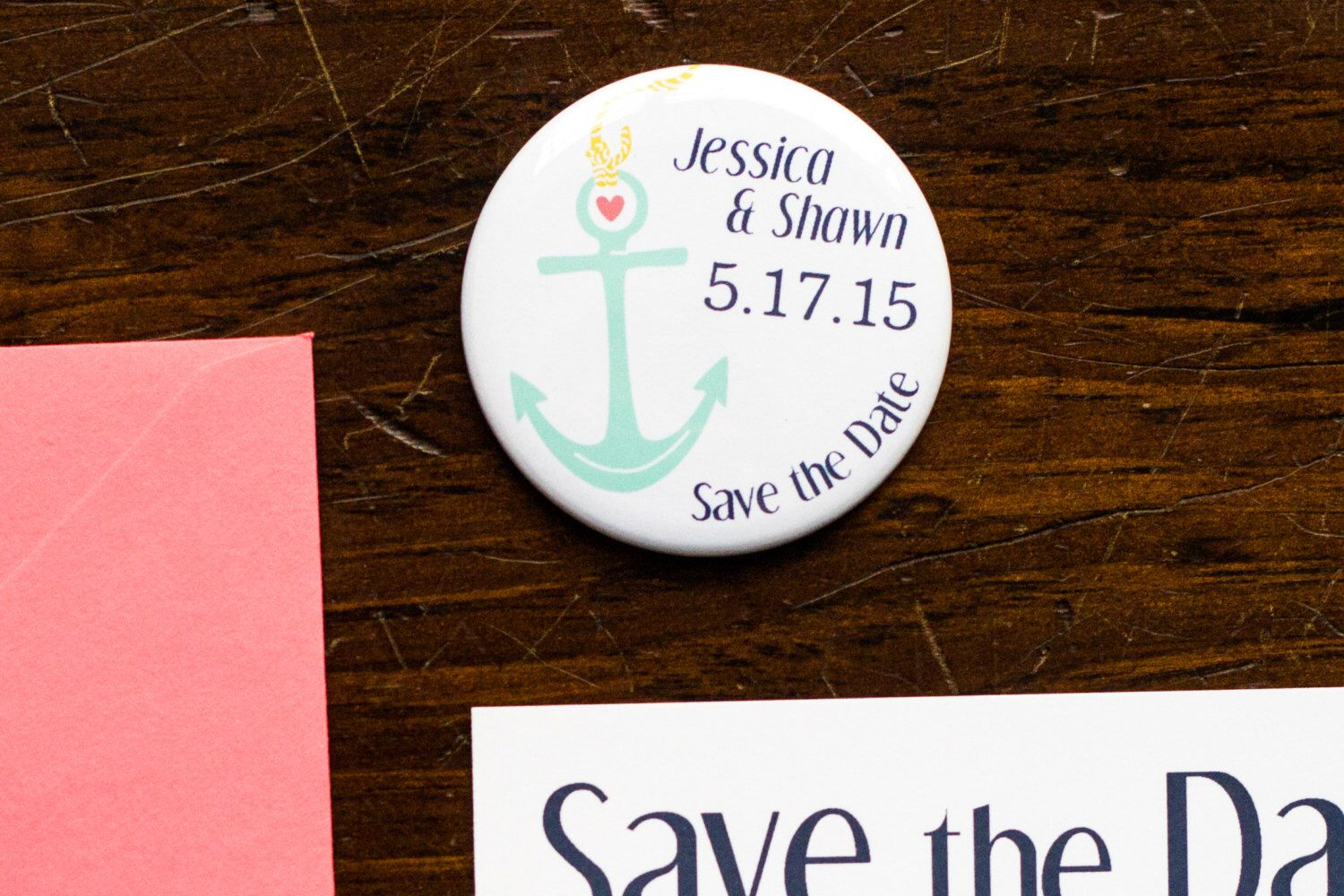 Anchor Save the Date, Wedding Coral Invitation