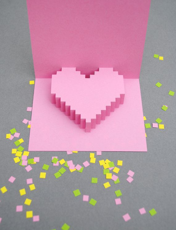 Creative Card Making Ideas For Valentines Day Part - 37: DIY Pixelated Heart Pop-up Valentineu0027s Day Card