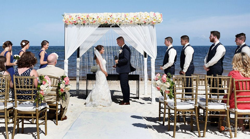 Altar Covered In Roses For Beach Wedding At Moon Palace Cancun Destinationwedding Beach Palace Cancun Wedding Moon Palace Cancun Wedding Moon Palace Cancun
