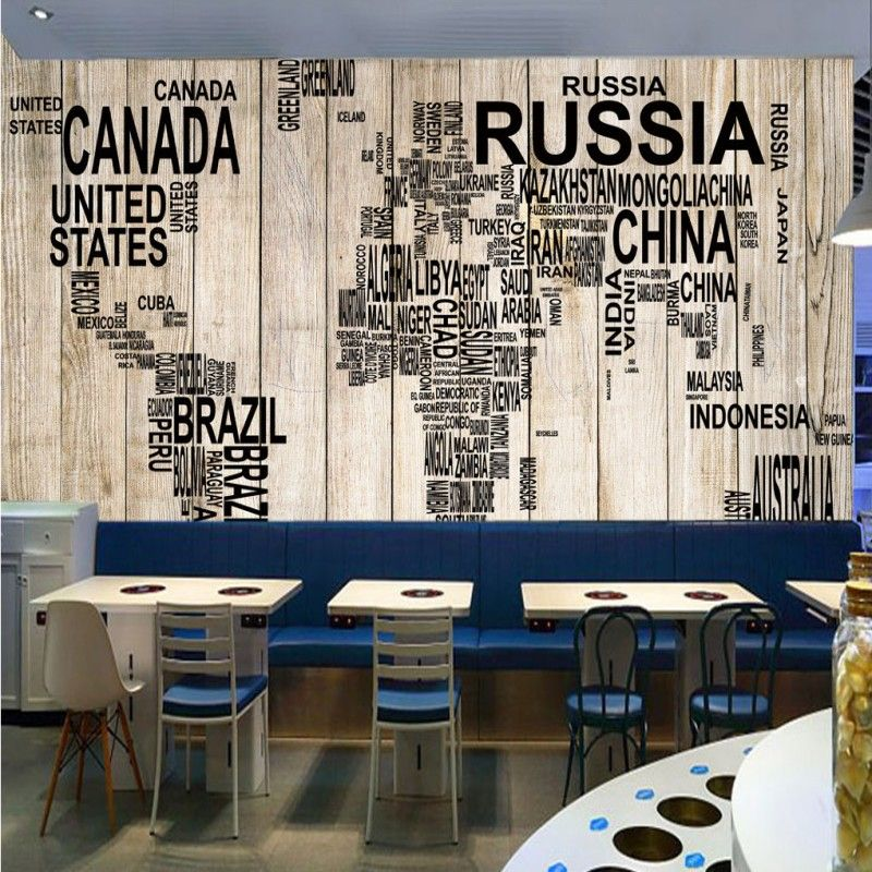 Retro wooden board world map living room cafe background bedroom retro wooden board world map living room cafe background bedroom lobby office wallpaper custom mural gumiabroncs Choice Image
