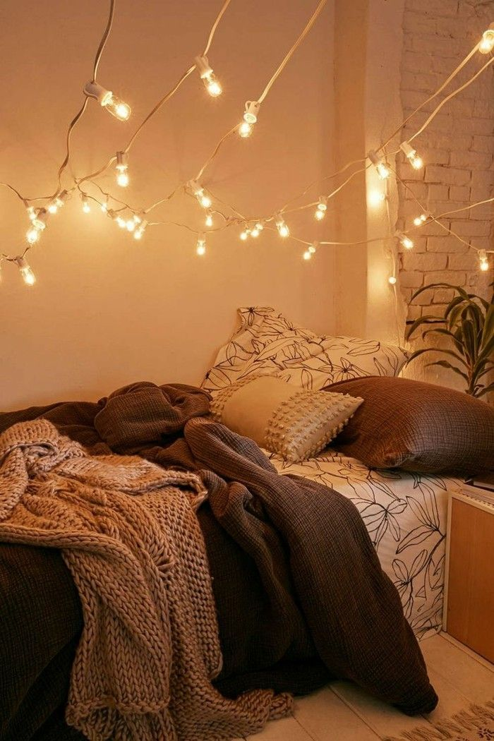 wohnungsdekoration schlafzimmer wanddeko ideen lichterketten