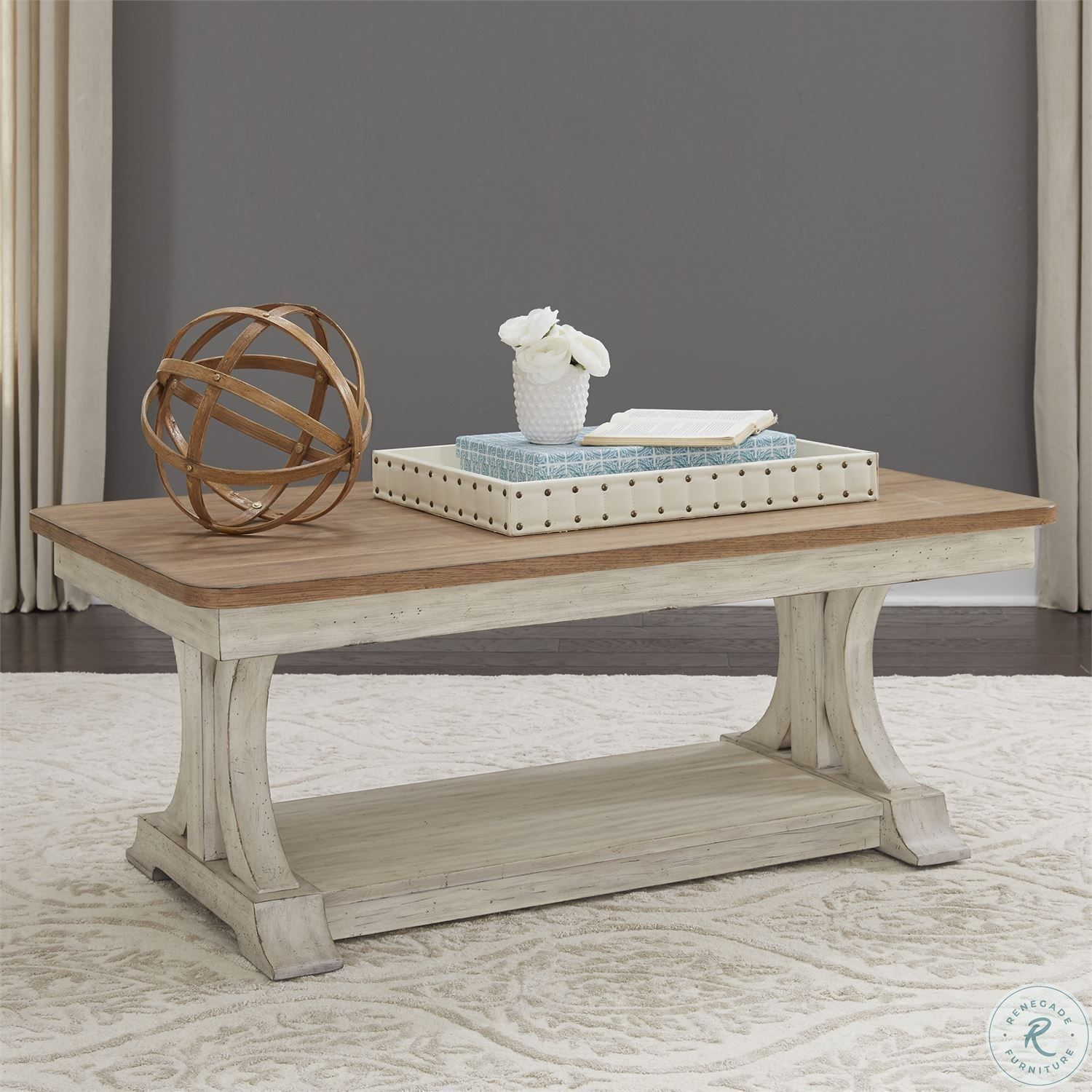 Parisian Marketplace Two Tone Heathered Brownstone Round Cocktail Table Liberty Furniture Coffee Table Wood Farmhouse Coffee Table Sets [ 1500 x 1500 Pixel ]