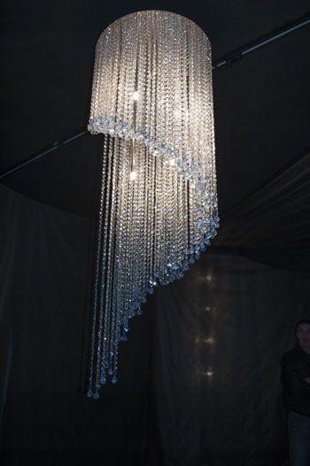 Fontaine De Lumière Ronde En Spirale En Cristal De Swarovski