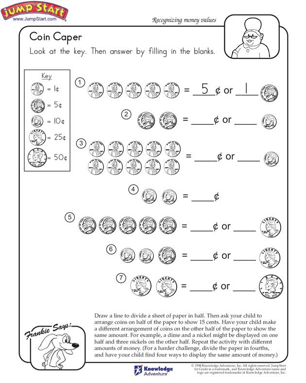 Coin Caper 1st Grade Math Worksheets Jumpstart Kids Math Worksheets 1st Grade Math 1st Grade Math Worksheets