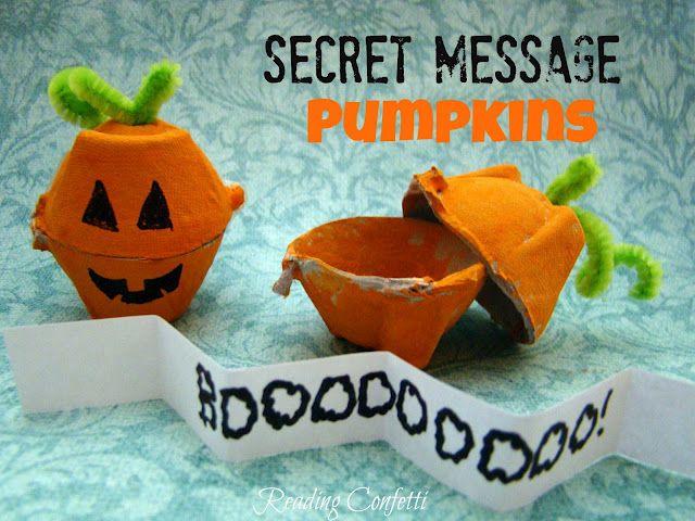 Secret message pumpkins made from egg cartons