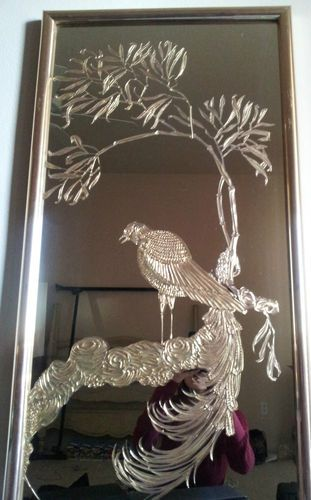 vintage brass etched mirror 49x20 large brass wall mirrors etched