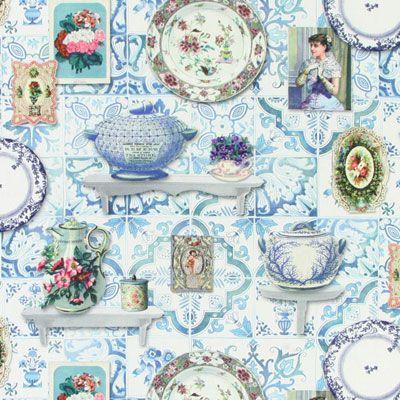 Küchenwand - Baumwolle - hellblau
