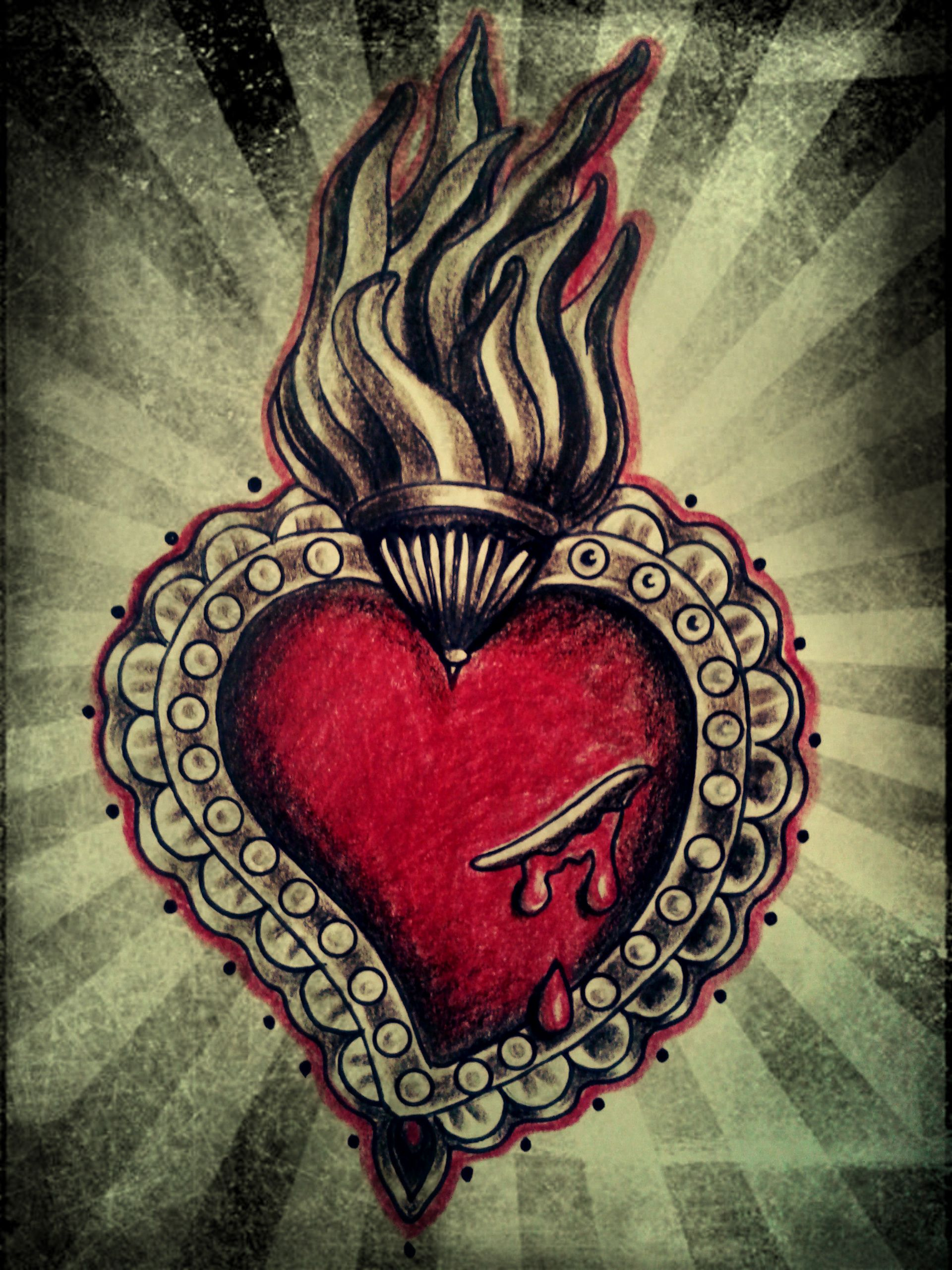 Images For Gt Mexican Sacred Heart Art Sacred Heart Tattoos