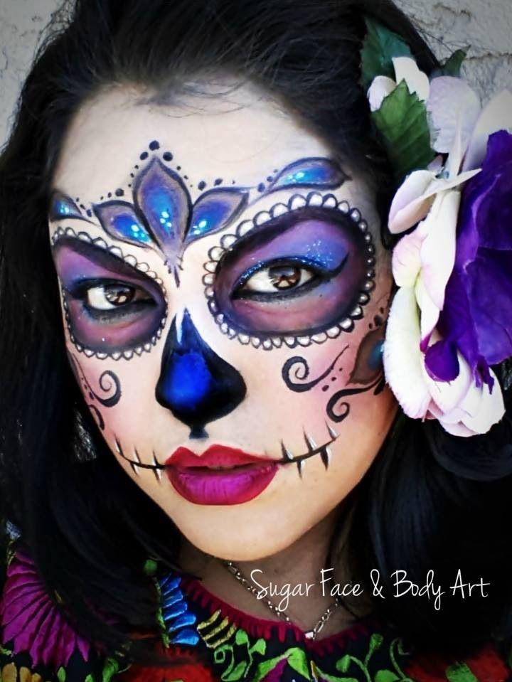 Colorful sugar skull face paint inspiration halloween halloween makeup halloween ideen - Mexikanische totenmaske schminken ...