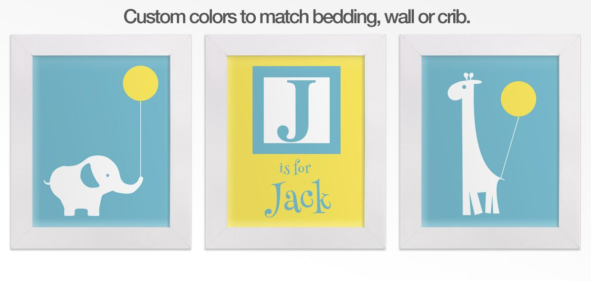 Yellow and light blue baby elephant and giraffe nursery wall art set ...