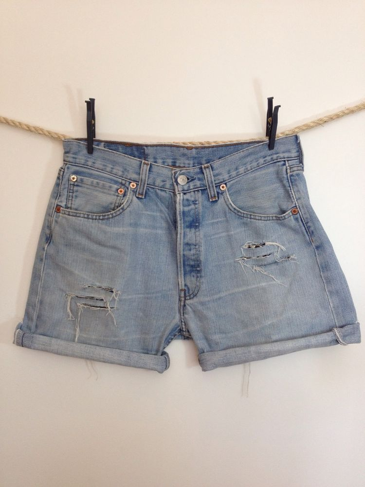 e6abc75b Vintage Levi Strauss Jean Shorts With Rips And Studs Detail. 32