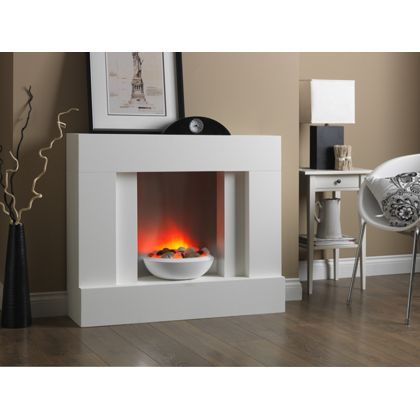 Suncrest Eclipse Electric Fireplace Suite White