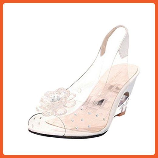 c8021e1763f Jiyaru Women Plastic Sandals Clear Flower Peep Toe Wedge Sandal ...