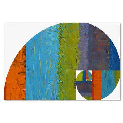 """Trademark Art """"Fibonacci Spiral"""" by Michelle Calkins Painting Print on Wrapped Canvas Size:"""