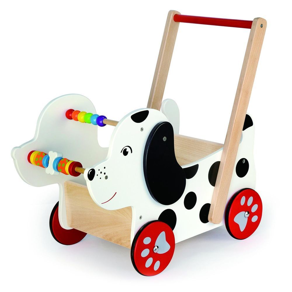 Wooden happy doggy baby walker childrens toddlers wood activity trolley baby toy