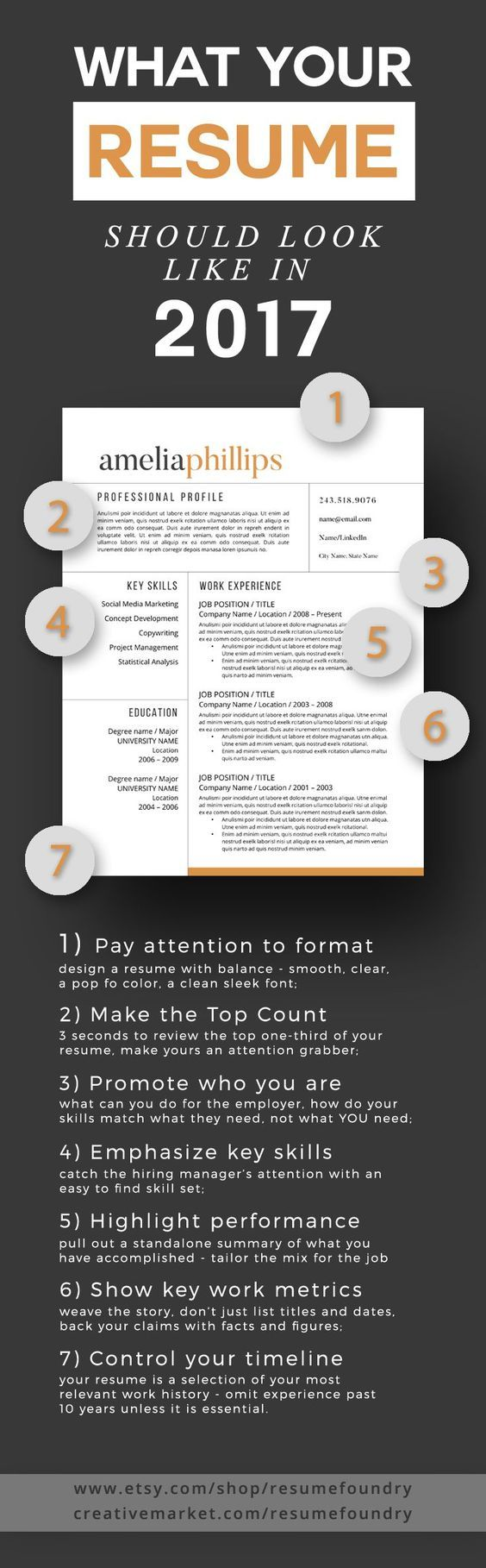 Modern Resume Template - the Amelia | Imanes, Arcos y Resumen