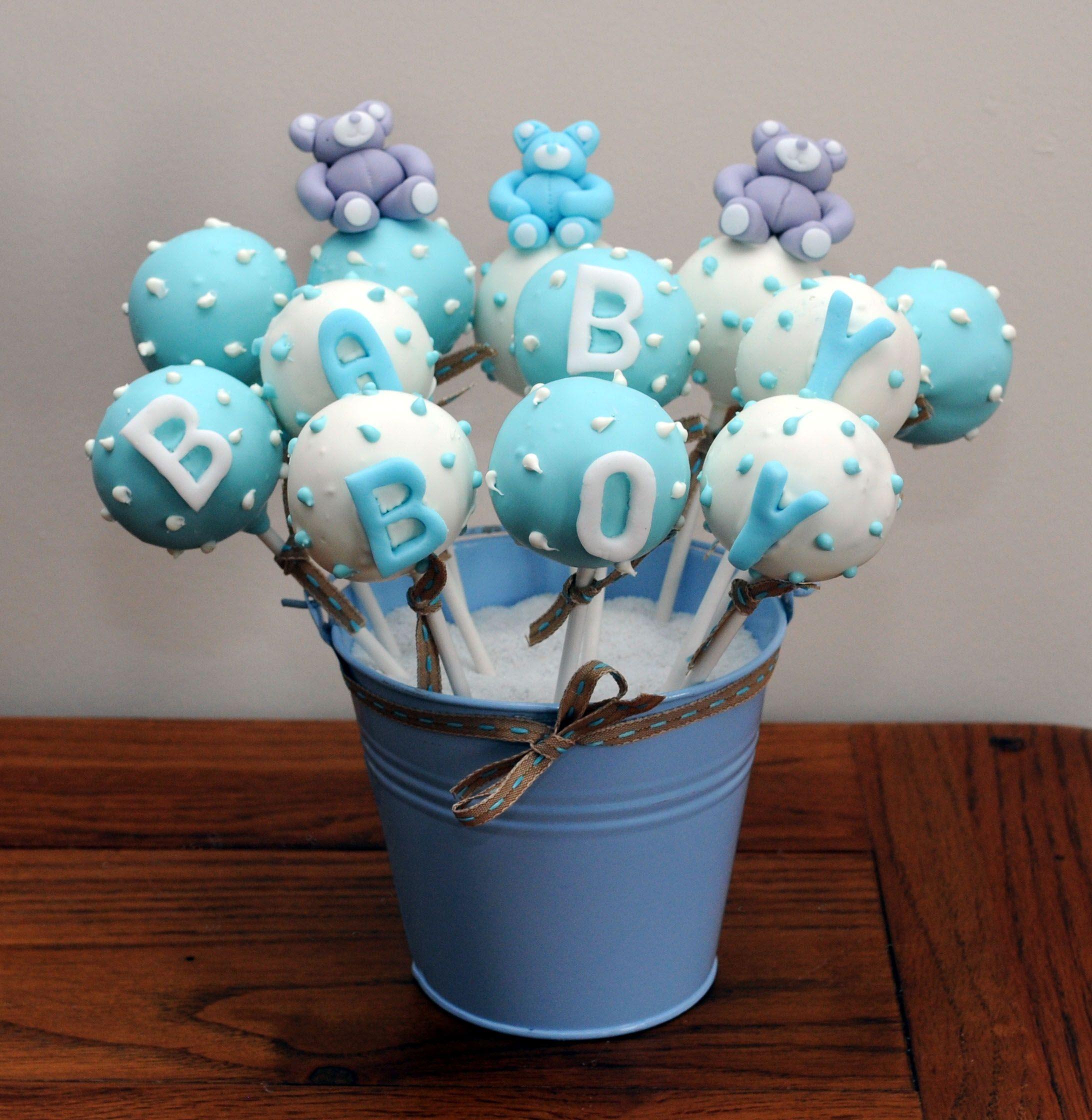 Baby Boy Light Blue And White Teddy Bear Cake Pops