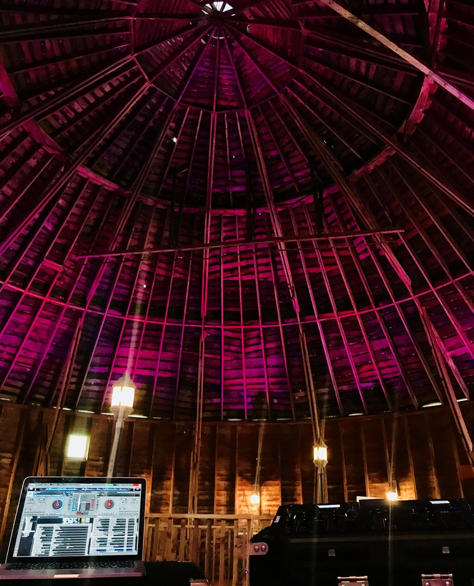 Got to love mood lighting at Round Barn Winery, Distillery