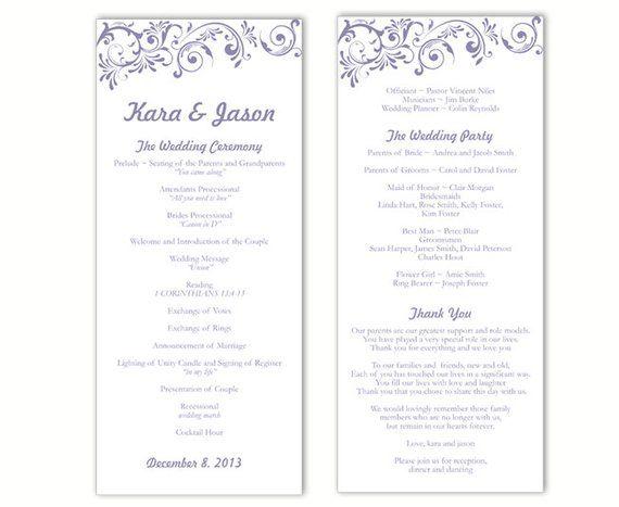 wedding program template diy editable text word file download program purple wedding program templat
