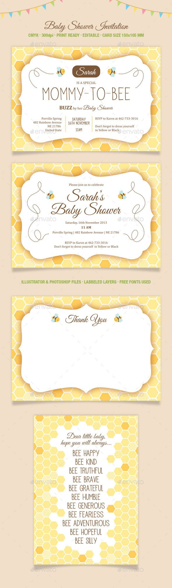 Fun And Cute Baby Shower Invitation Card Size 150105 Mm