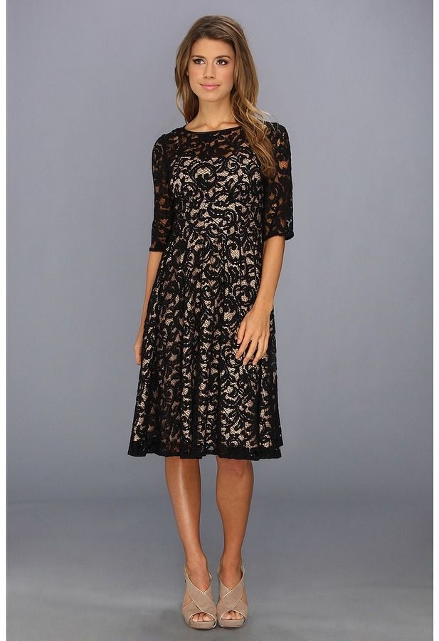 c3a67f6f3cc Adrianna Papell 3 4 Sleeve All Over Lace Dress