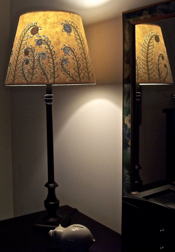 Pteridomania Crazy For Ferns Reverse Painted Modified Drum Lamp Shade