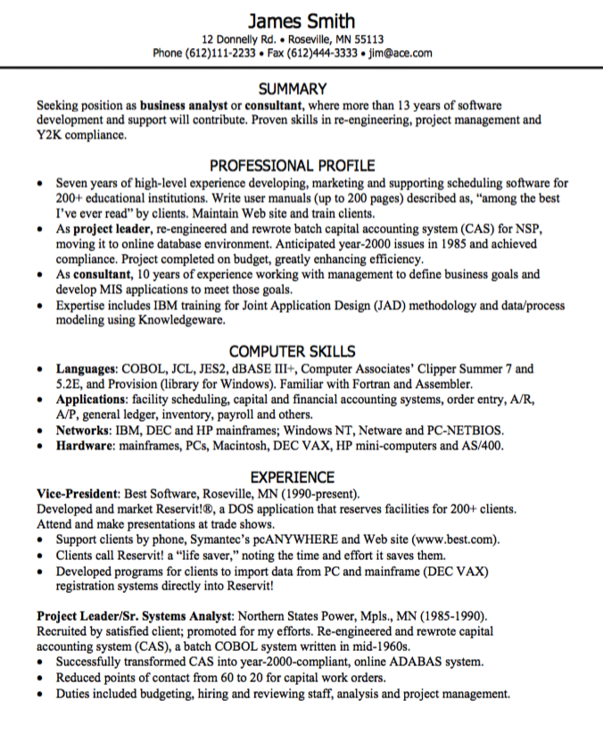 Business Analyst Resume Examples Business Analyst Resume Sample  Httpexampleresumecv