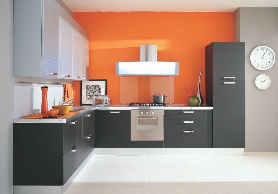 Kitchen: Orange Walls And Grey Cabinets Ok Its Needs More Cabinets And And  Island But I Love The Colors