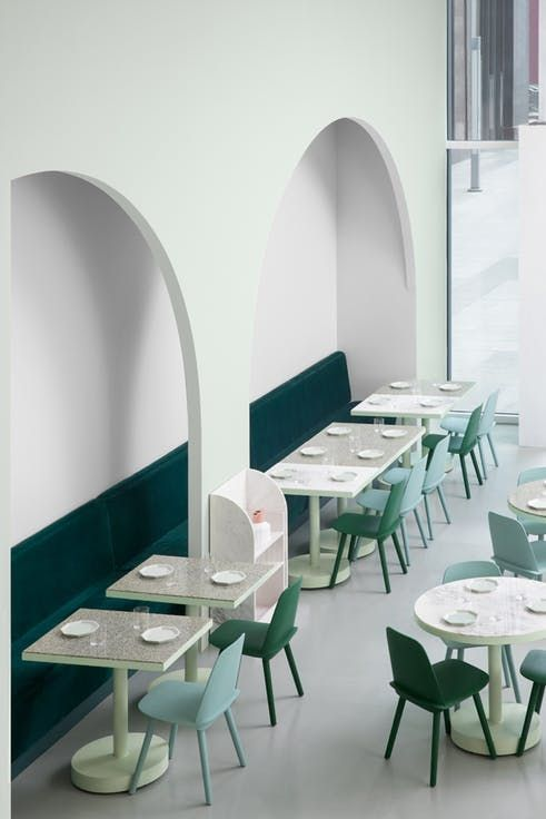 This Spectacular Cafe In China Is Filled With Beautiful Pastel Colours In Both Mint Green And P Interiorarkitektur Minimalistisk Indretning Indretningsarkitekt