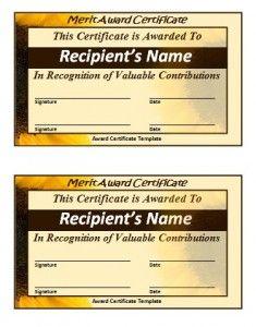 Merit Certificate Sample Magnificent 10 Merit Certificate Templates  Word Excel & Pdf Templates  Www .
