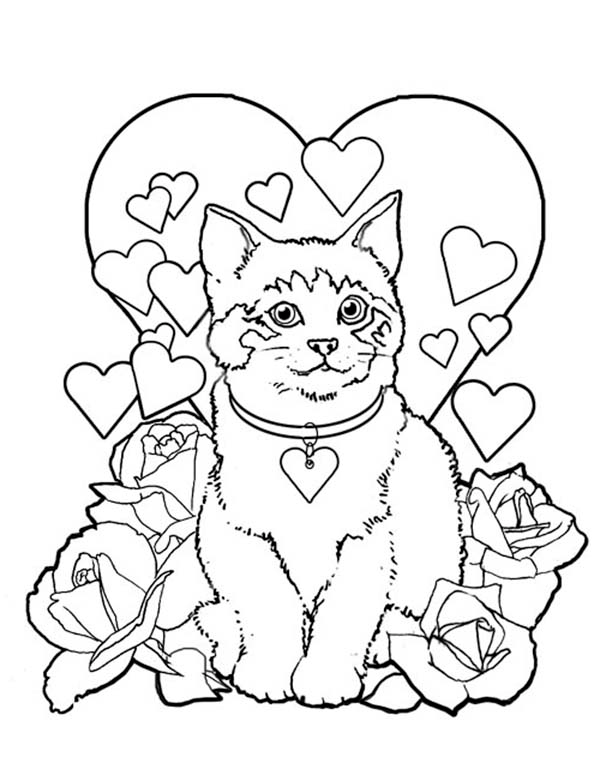 A Sweet Kitty Cat On Valentines Day Coloring Page Kids Play Color Valentines Day Coloring Page Valentine Coloring Pages Valentine Coloring