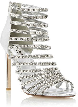 6cb8fd5f0e1f Dune LADIES HEARTSHINE - SILVER Strappy Leather and Diamante Heeled Sandal  on shopstyle.co.uk