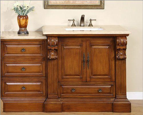 Silkroad 58 Single Sink Cabinet W Drawer Bank Travertine Top By