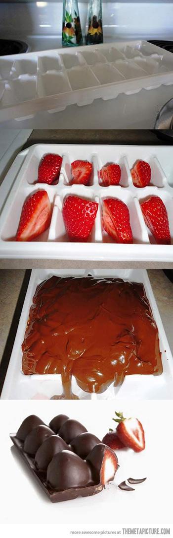 Mais fácil que estes bombons de morango impossível! Basta colocar os pedacinhos de morango (bem lavados e secos) nas divisões de uma ...