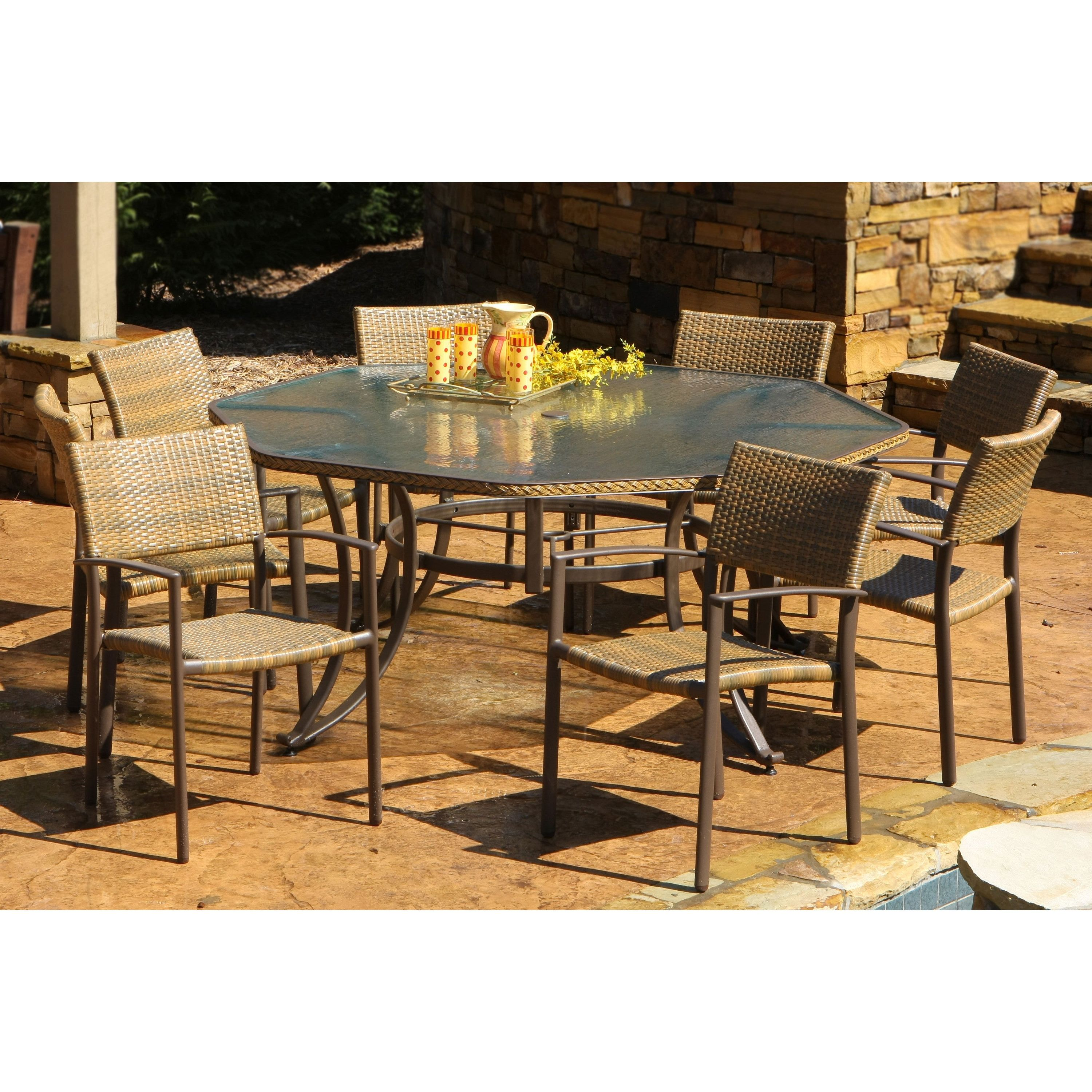 Silver Patio Furniture.Havenside Home Cape 9 Piece Maracay Outdoor Octagon Dining Set 9pc