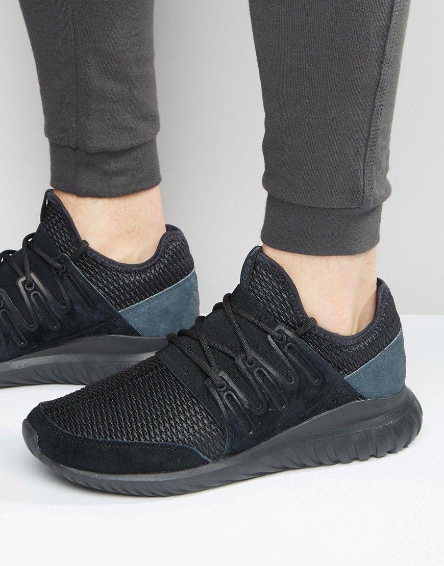 official photos 4b633 38531 ADIDAS ORIGINALS TUBULAR RADIAL SNEAKERS IN BLACK S76721 - BLACK.   adidasoriginals  shoes
