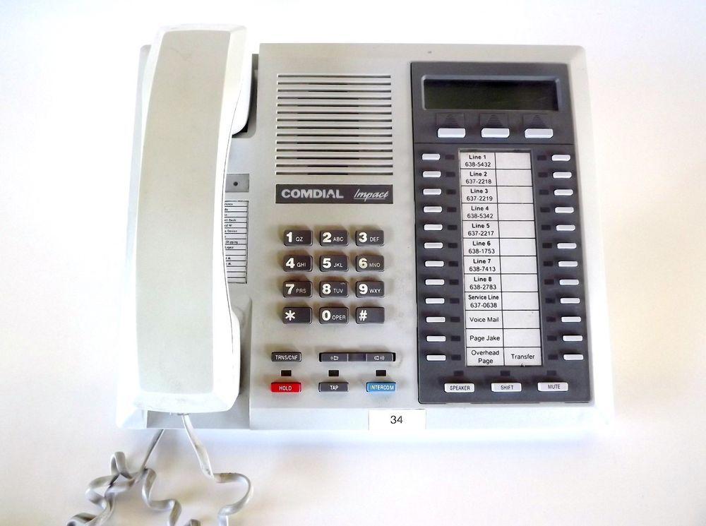 Comdial Impact muli Line Corded Phone White Business Phone #Comdial