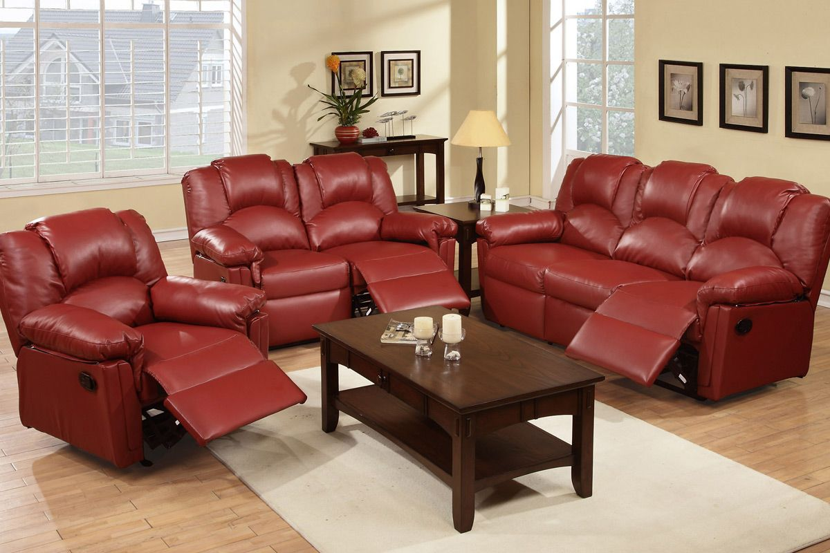 Small Sectional Sofa Burgundy Red Bonded Leather Motion Sofa and Loveseat Set Optional Recliner Chair