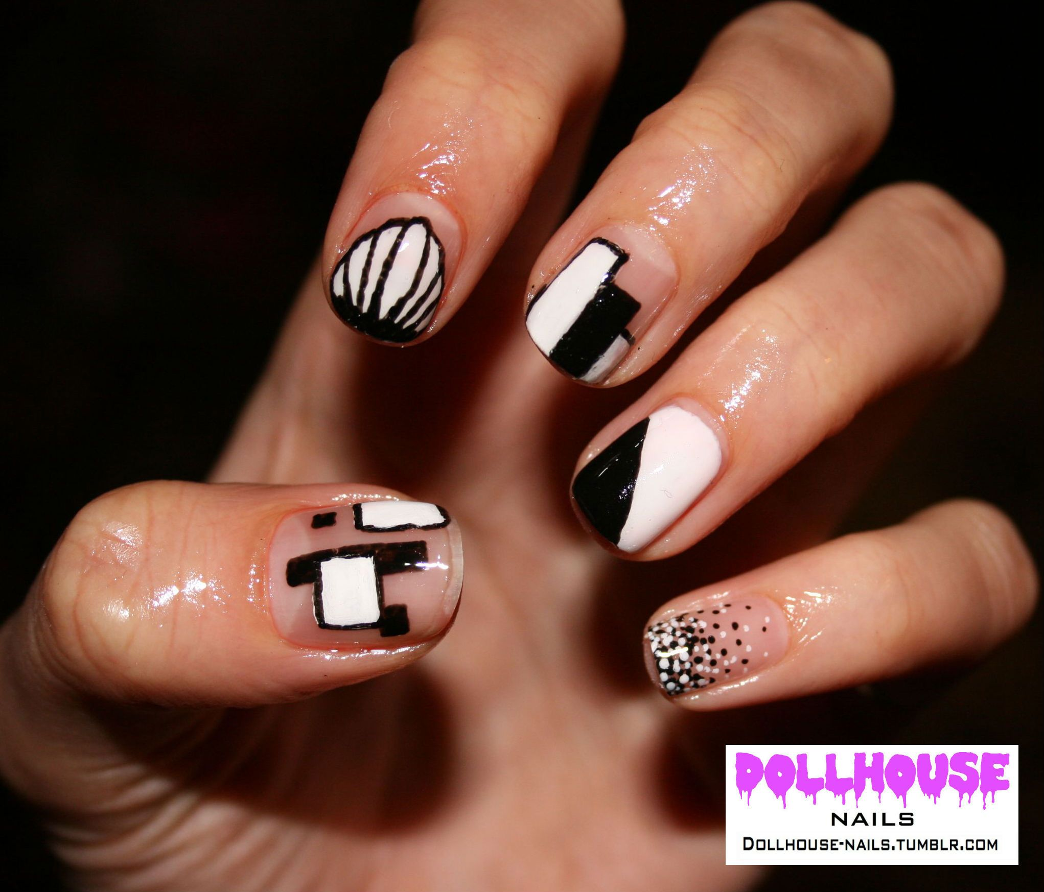 60\'s graphic monocrome nails See more of my Nail Art at: dollhouse ...