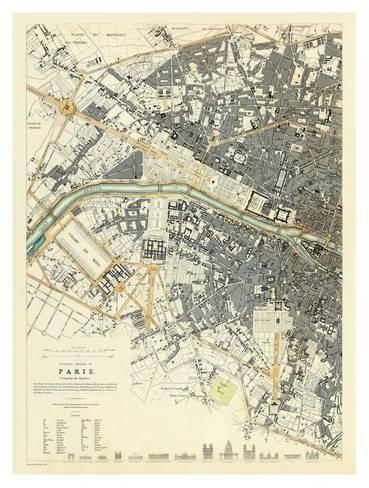 Paris France c 1834 map
