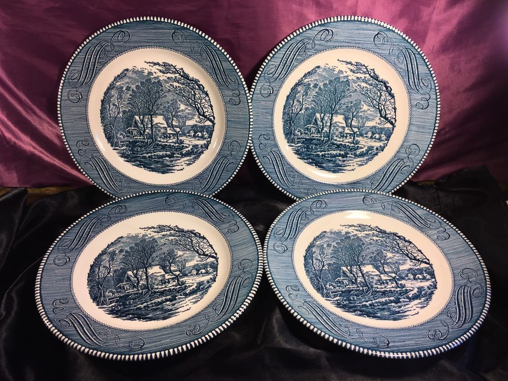 Vintage CURRIER and IVES Blue The Old Grist Mill Dinner Plate SET 10"
